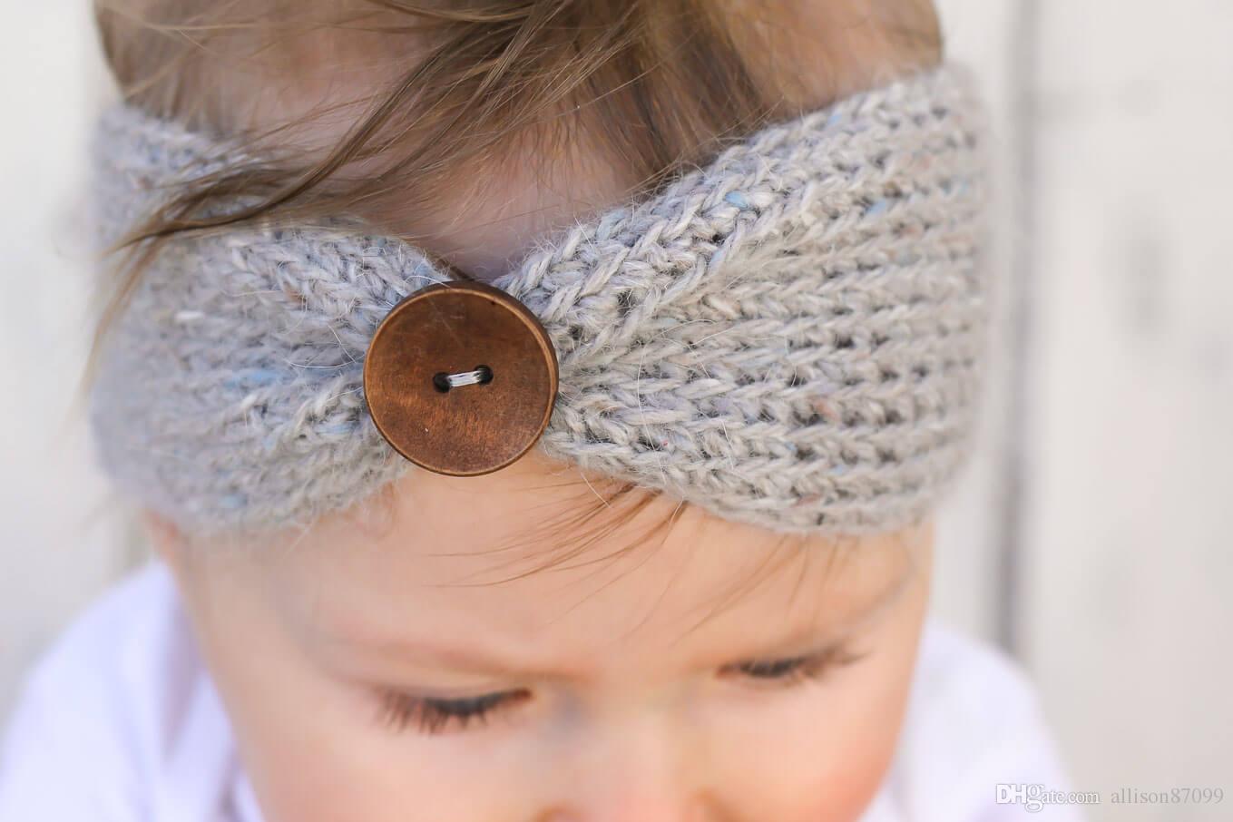 Onsale neue Baby-Mädchen-Art- und Weisewollhäkelarbeit-Stirnband stricken Hairband mit Knopf-Dekor 10 Farben-Winter-neugeborener Säuglingsohr-Wärmer-Kopf Headwrap