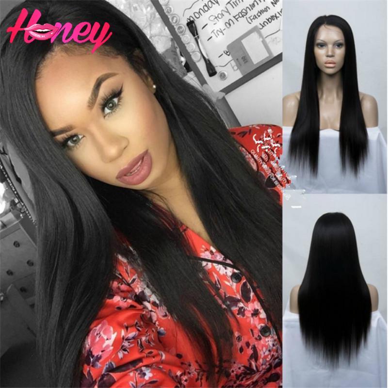 7A pelucas de pelo humano recto pelucas brasileñas del frente del cordón humano pelucas de cabello humano 8-24 pulgadas pelucas largas delanteras sedosas del cordón