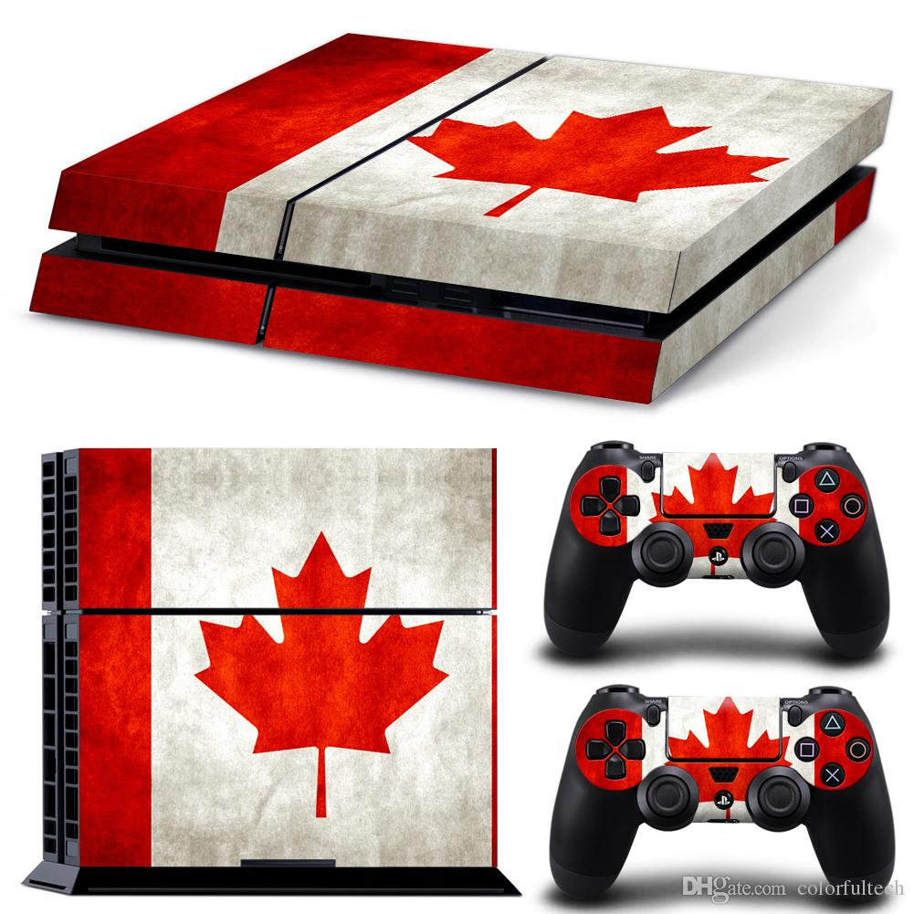 """PS4 Design Skin """"flag of Canada"""" Decal Sticker for PlayStation 4 Console and Controllers-Size 2132"""
