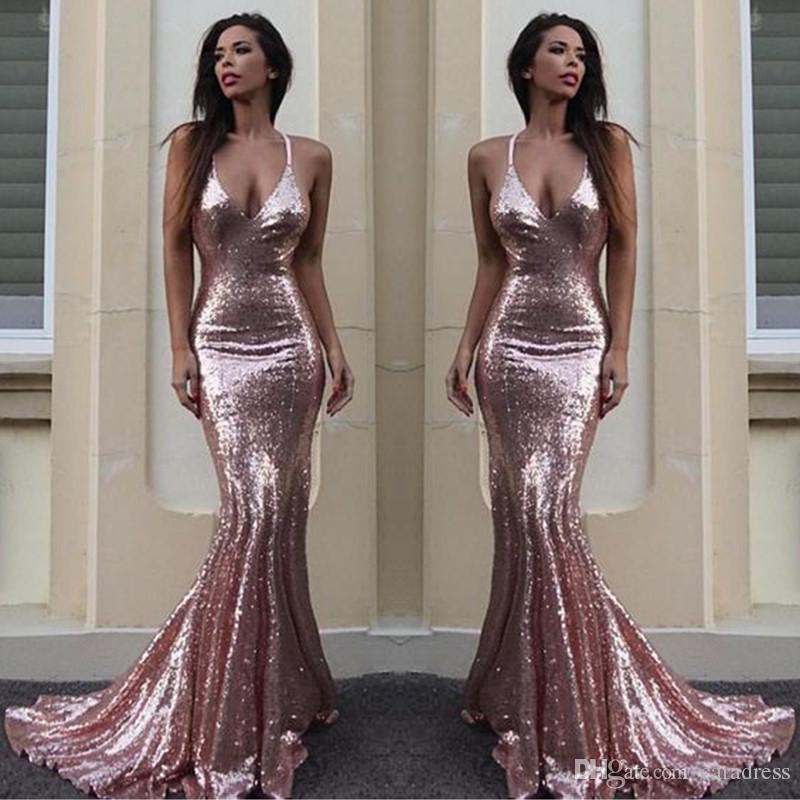 Großhandel 2018 Sparky Sequins Prom Kleider Rose Gold V Ausschnitt ...