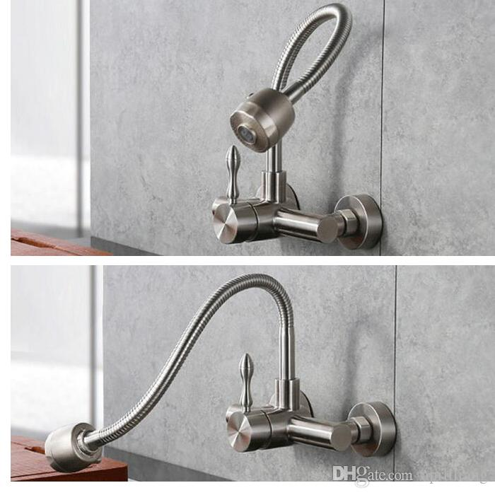 Stainless Steel 304 Kitchen Sink Faucet Hot Cold Brushed Two Functions Wall Tap