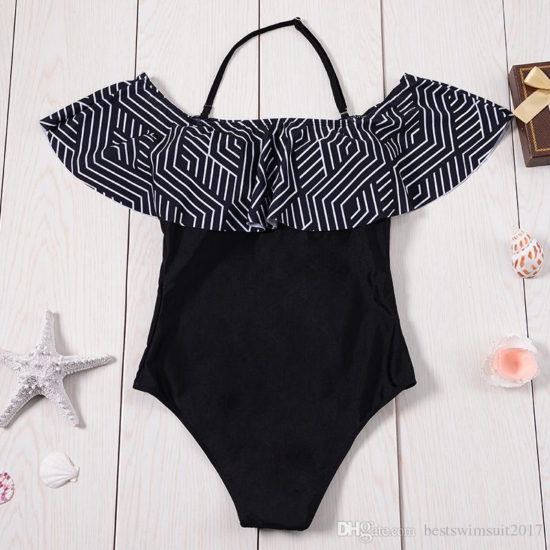 147db01a39d 2019 Black Off Shoulder Swimsuit One Piece Swimwear Ruffle Sexy Swim Wear  Bandeau Monokini Bodysuit Women Striped Summer Beach Bathing Swim Suit From  ...