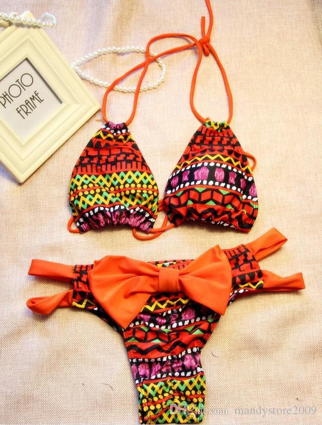 2016 Hot Summer Bikini Brazilian Style Women Bikinis Geometric Push Up Swimsuit Halt Top With Bow Bottom Bathing Suit