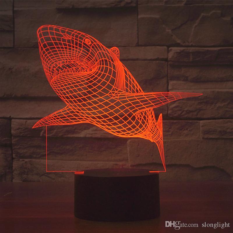Envío gratis es cambiando la carga del USB MOVIE JAWS Acrílico 3D LED luz nocturna iluminada led lámpara de mesa flash 3D LED Lámparas