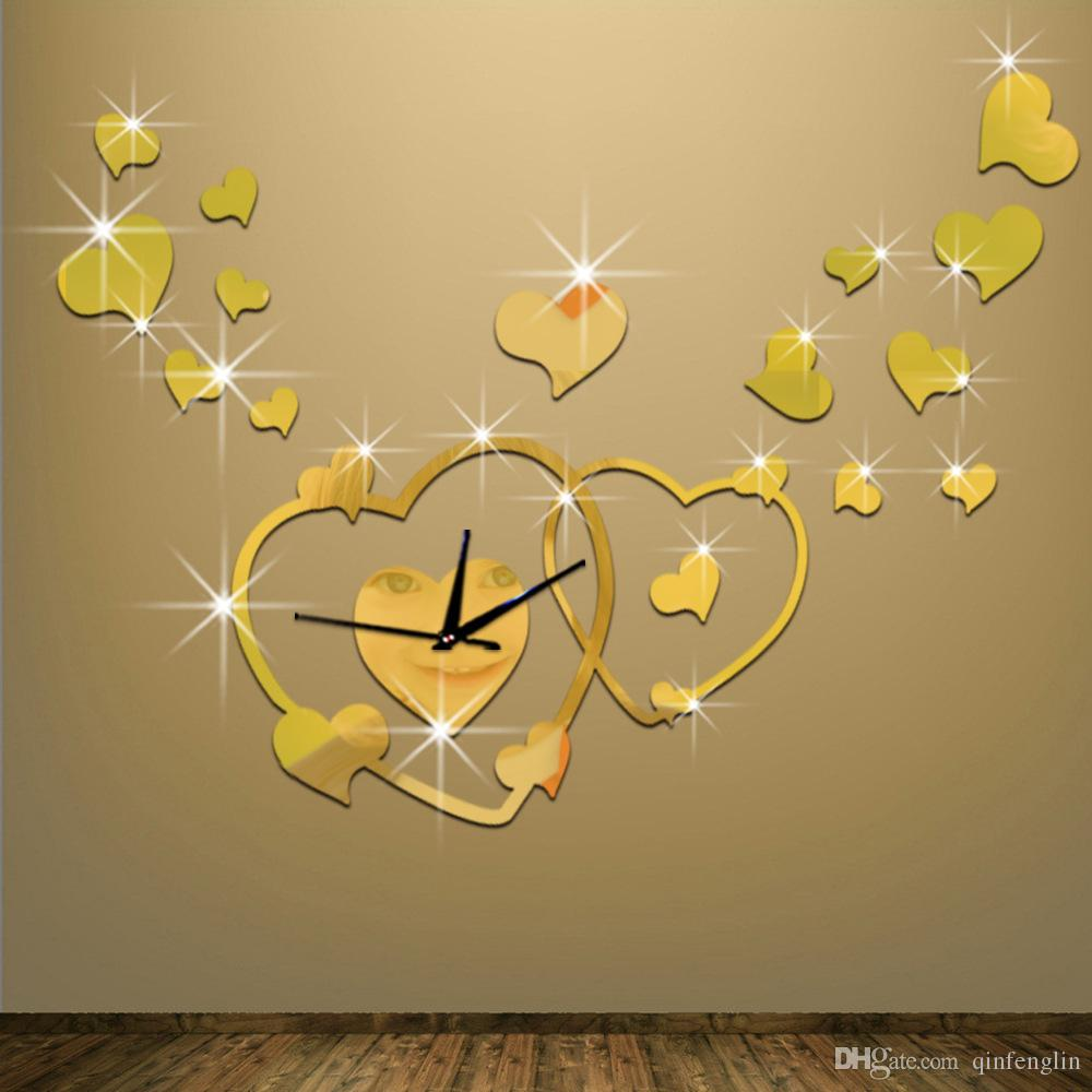 LOVE DIY 3D Wall Sticker Heart Mirror Decoration Clock Wall Stickers ...