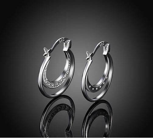 mix 10style 10 paia / lotto gioielli di alta qualità placcatura in argento sterling 925 doppio cerchio orecchini a cerchio orecchio regali di moda iperbole grande orecchio rin