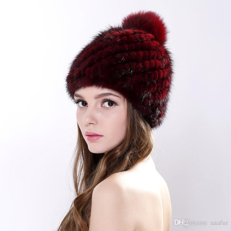 88a903833b8cb New Fashion Natual Real Fur Hat for Women Winter Knitted Fur Beanies ...