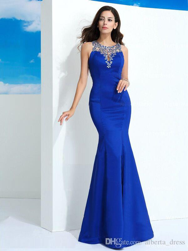 Charming Crystal Mermaid Evening Dresses Rami Salamoun Applique Crew Neck Sleeveless Sweep FAST MADE Evening Prom Gown high quallity