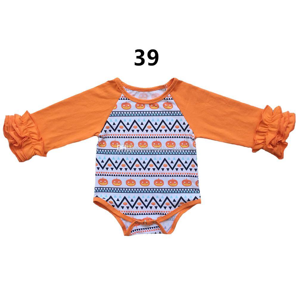 39 개 색상은 가을 아기 소녀 할로윈 추수 감사절 뛰어 돌아 다니는 라글란 긴 소매 장난 꾸러기 도매 크리스마스 새해 주름 아기 점프 수트 가을