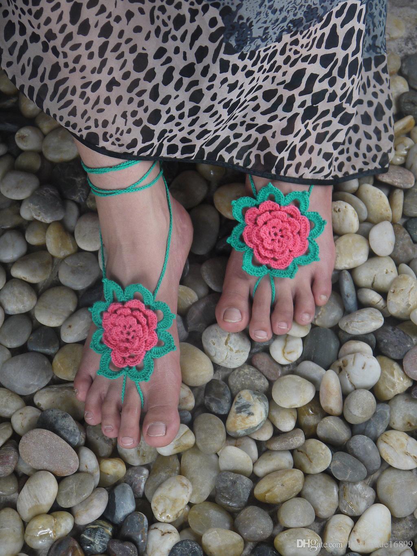 Zielony kwiat szydełek boso sandały koronki seksowne buty, sandały, handmade sandały letnie puste anklets, plaża ślubna impreza ślubna