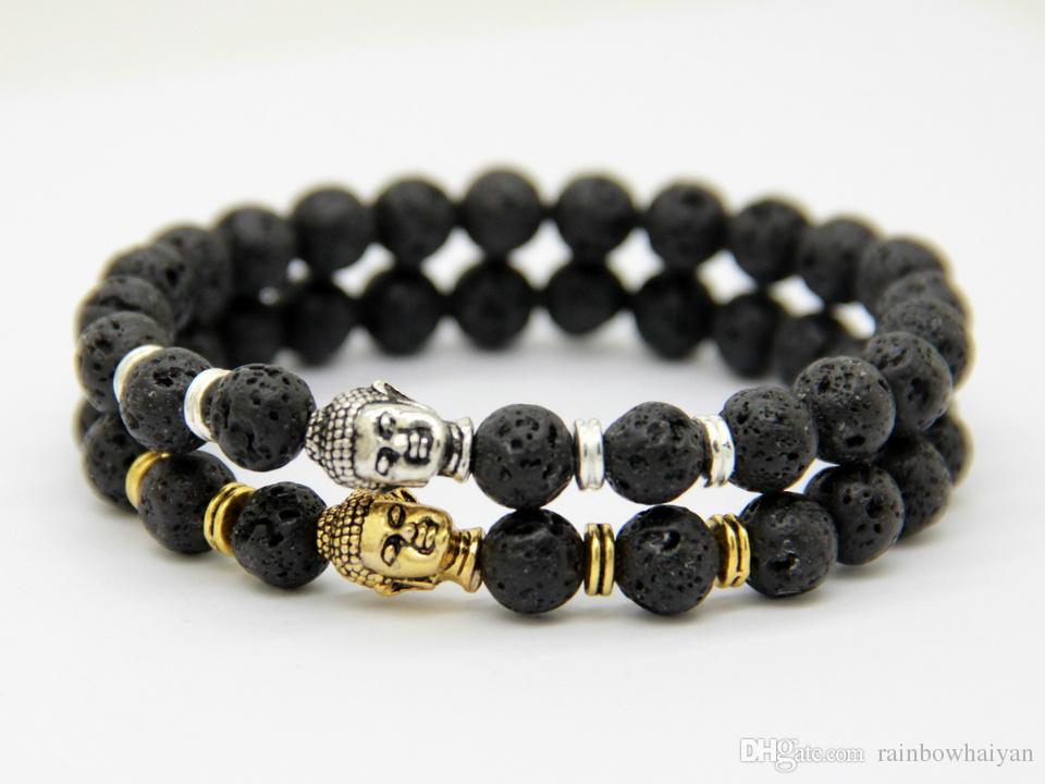 2015 Hot Sale Jewelry Black Lava Energy Stone Beads Oro y plata Pulseras de Buda Venta al por mayor de nuevos productos para hombres y mujeres