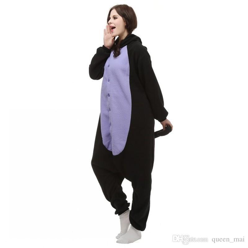 Japonya Anime Cosplay Pijama Hayvan Midnight Kedi Kitty Gece Siyah Kedi Yavru Kigu Cosplay Kostüm Unisex Yetişkin Onesie Pijama Kedi Tulum