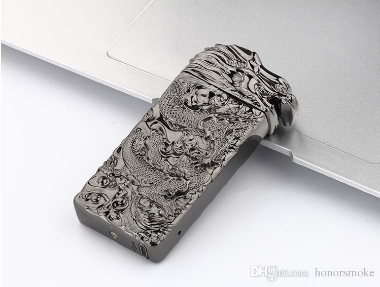Встряхнуть индукции воспламенения зажигалки гравировка Дракона дуги USB аккумуляторная Непламено ветрозащитный Электронная зажигалка 5 цветов с подарочной коробке