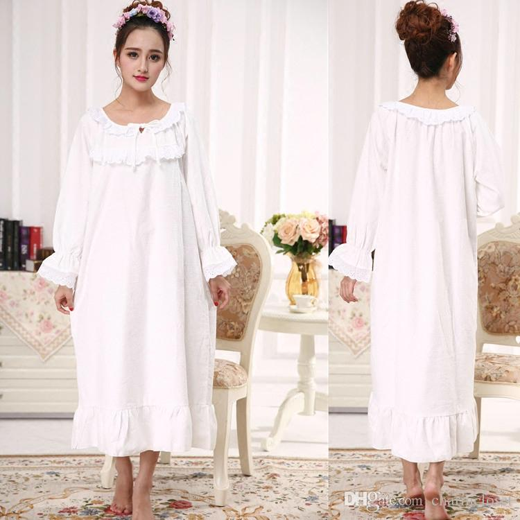 Spring Autumn And Winter Women S Long Sleeve Cotton Super Soft Elegant  Sleepwear Loose Plus Size Nightgown Long Princess Nightwear UK 2019 From  Charmcloset 6d932fad0