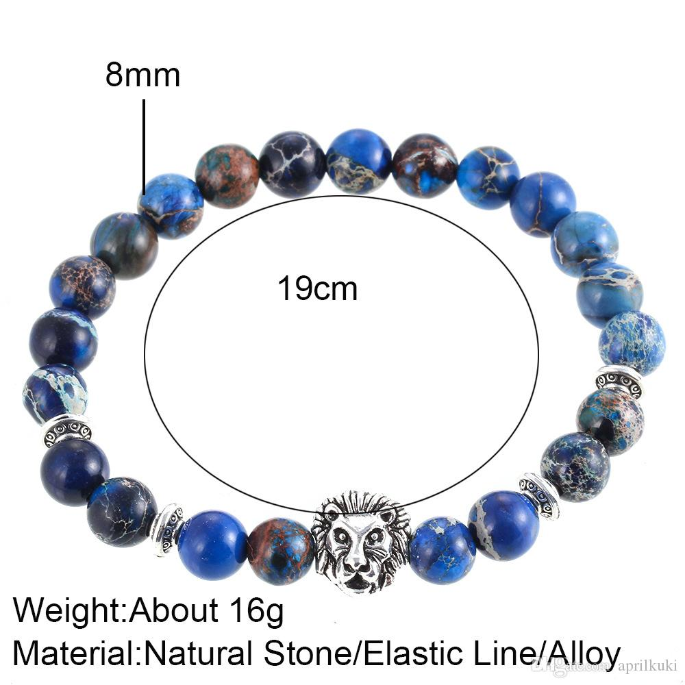 Natural Stones Silver Lion Charm Bracelets With Crystal Silver Crown Mala Imperial Beads Men Bracelets Women Wrap Buddha Jewelry Accessories