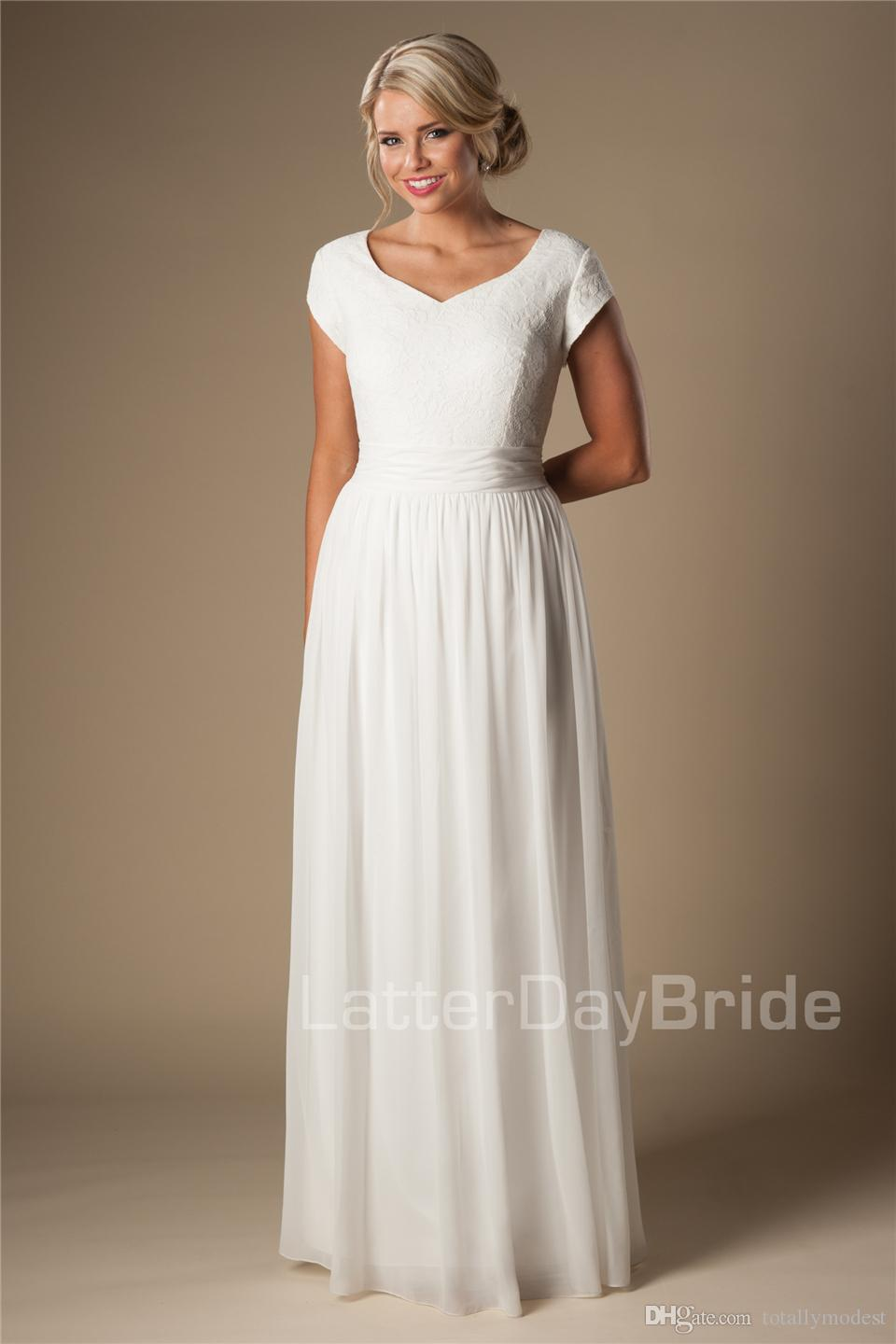Informal Lace Chiffon Modest Cap Sleeves Wedding Dresses With Short Sleeves Long Floor Bridal Gowns A-line Simple Beach Wedding Gowns Cheap