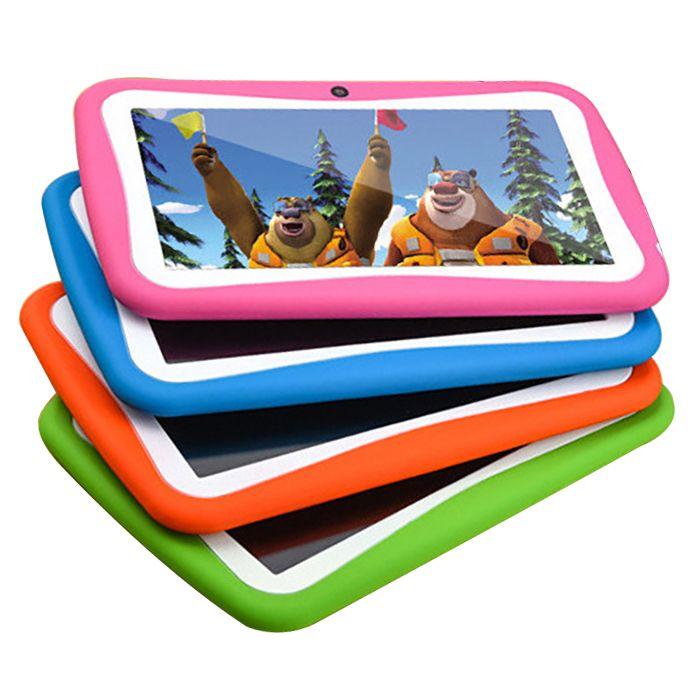 Crianças Tablet PC Android 512 MB + 8G ROM Quad WiFi 1.5 GHz CPU RK3126 crianças Educacionais Play tablet HD 1024x600 Câmera IPS Dupla