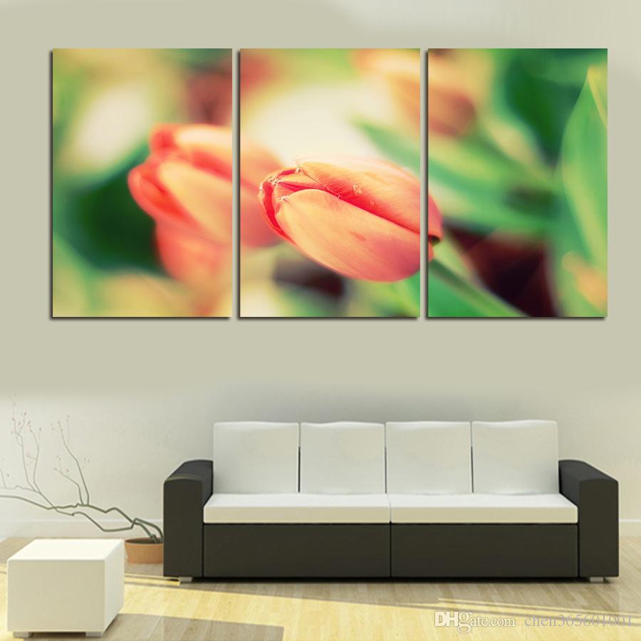 3 Pz Vendita Calda Rosa Chiaro Fiori Immagine di Arte Della Parete Decorazione Della Casa Moderna Soggiorno tessuto Stampa Su Tela Pittura Wall Art