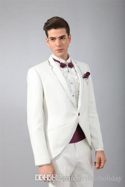 Classic Design White Groom Tuxedos Men's Wedding Dress Prom ClothingJacket+pants+tie+Girdle