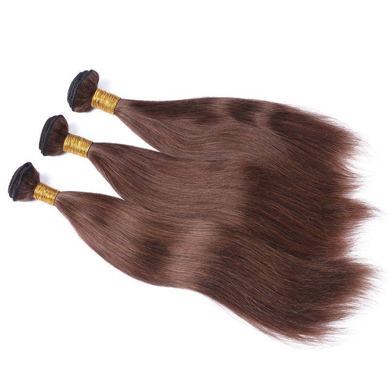 Chocolate Brown Virgin Brazilian Human Hair Extensions Silky Straight Virgin remy Hair Weaves #4 Medium Brown Human Hair Bundles