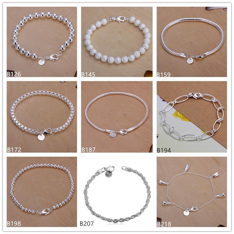 Flash Twisted Rope Sand Pearl Box perline in rilievo, fili aberdeen in argento sterling in argento placcato 8 pezzi stile misto GSSB3 Vendita Bracciale da donna 925 in argento