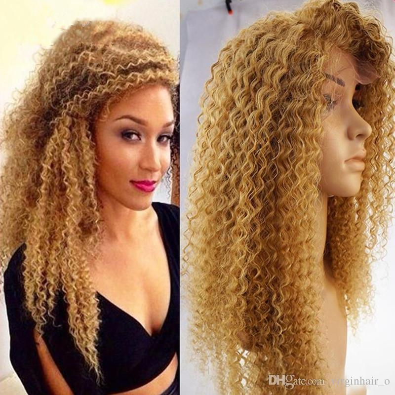 Honey Blonde Brazilian Full Lace Human Hair Wigs For Black