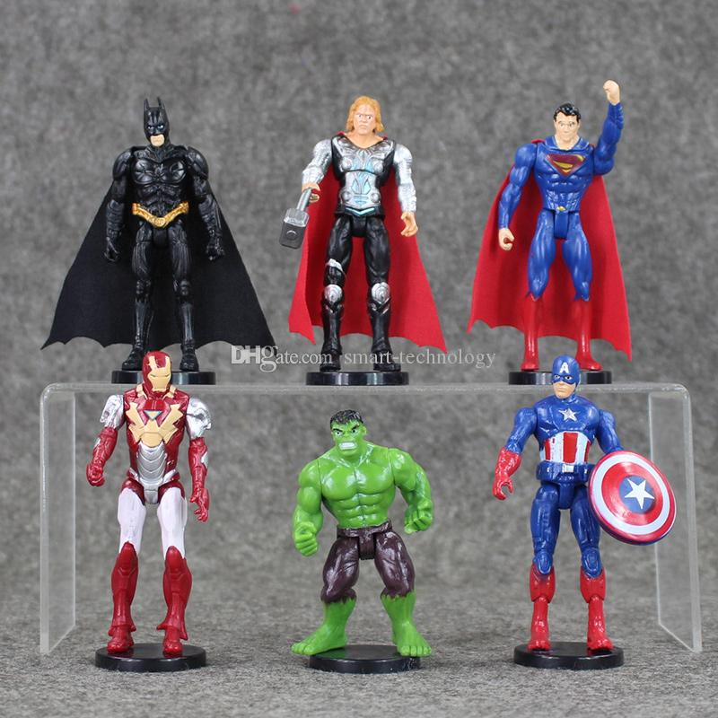 6 styles The Avengers Batman Iron-man Captain America Hulk PVC Action Figure Model toy free shipping retail