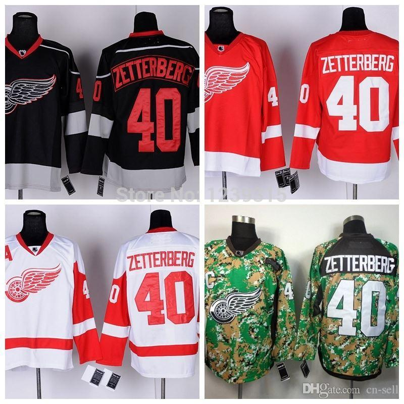 2019 Detroit Red Wings Hockey Jerseys  40 Henrik Zetterberg Jersey Home Red  Road White Black Men S Ice 2013 Camo Stitched Jerseys From Cn Sell d2651bdd1