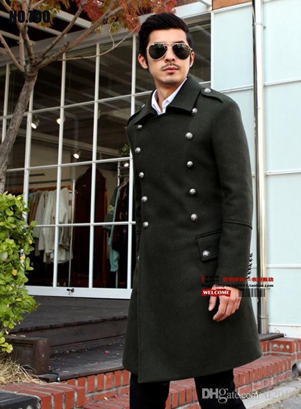 Los hombres erman generales de la Segunda Guerra Mundial abrigo de lana abrigo largo vintage Slim cruzado blusas abrigo largo Overcoat / S-3XL