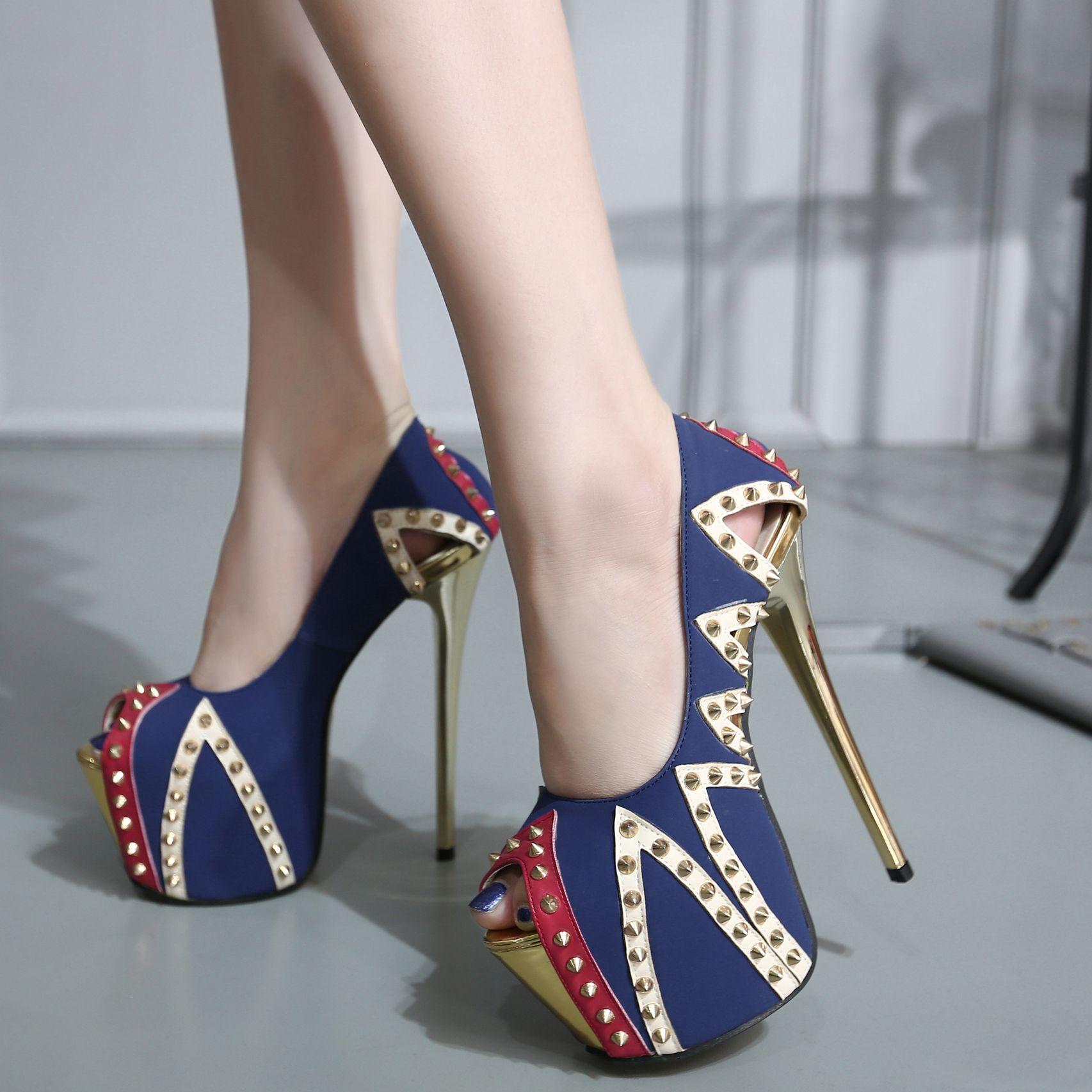 Block Patchwork Rivets Shoes Women Platform Pumps Sexy High Heels ...