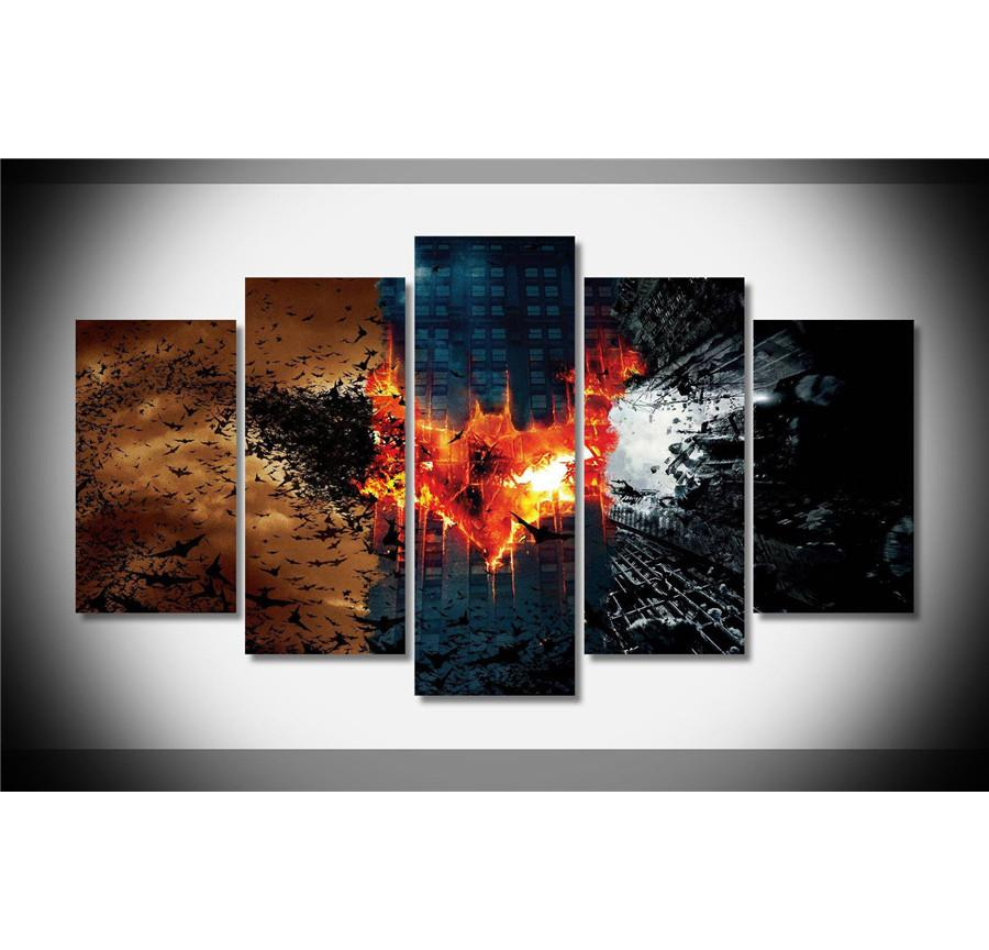 Batman Trilogy ,5 Pieces Home Decor HD Printed Modern Art Painting on Canvas (Unframed/Framed)