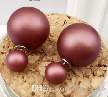 2016 haute qualité et haute perle brillante 17 types de couleur double face stud pour les femmes plaqué épingles d'oreille d'argent