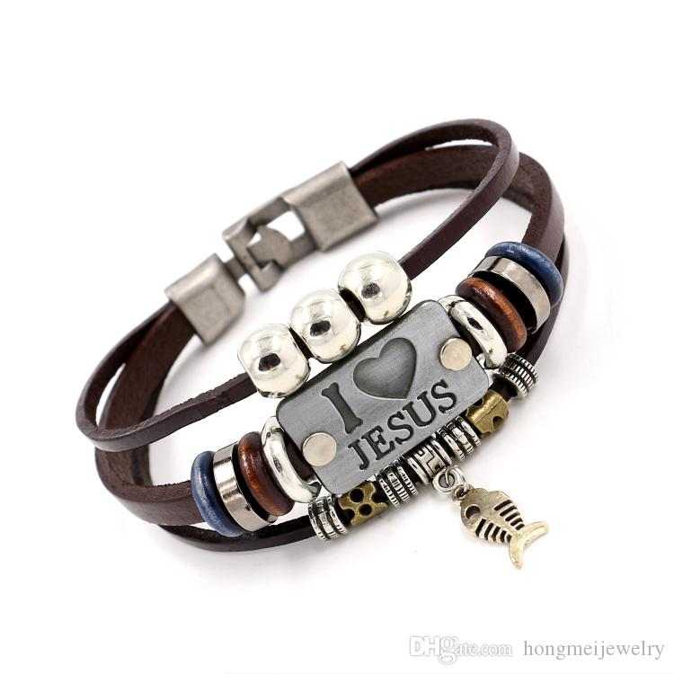 I Love Jesus Charm Bracelets Vintage Fish Pendant