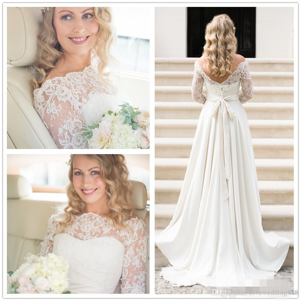 A Line Wedding Dress Actual Picture 2016 Lace Bohemian Wedding Gowns Vintage Off The Shoulder Low Back Covered Buttons 3/4 Long Sleeves