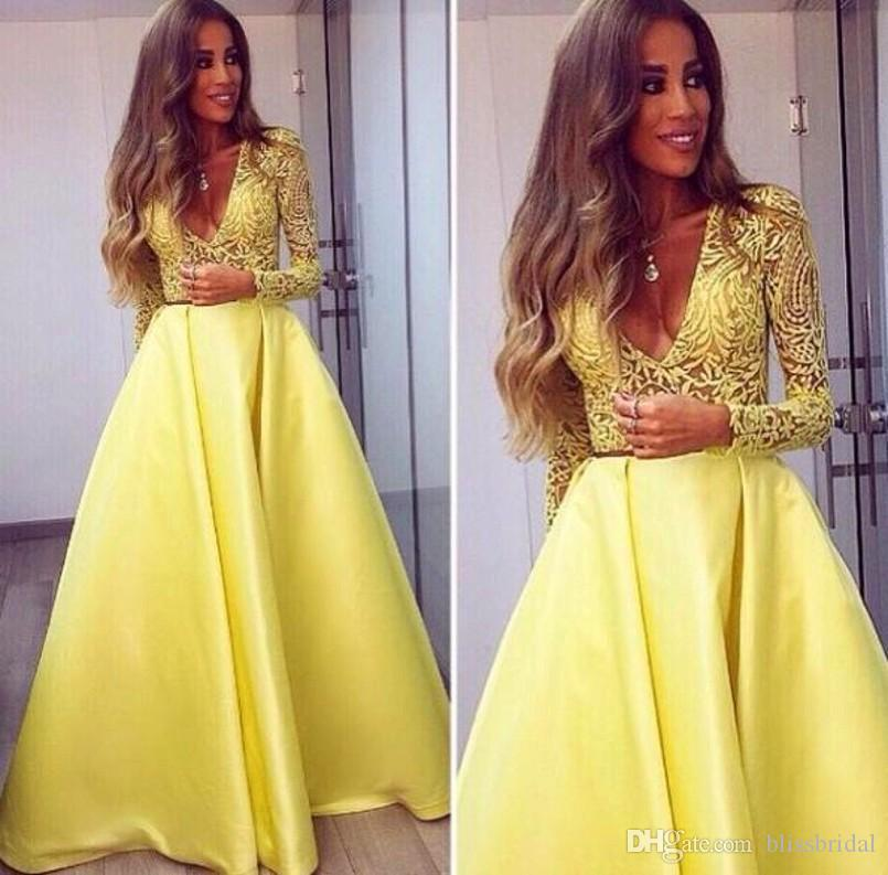 5f664eb9c569 Bright Yellow Satin Prom Dresses V Neck Long Sleeves Lace Appliques A Line  Sheer Sexy Party Gowns 2016 Women Formal Dresses Long Lace Dress Plus Size  Gowns ...