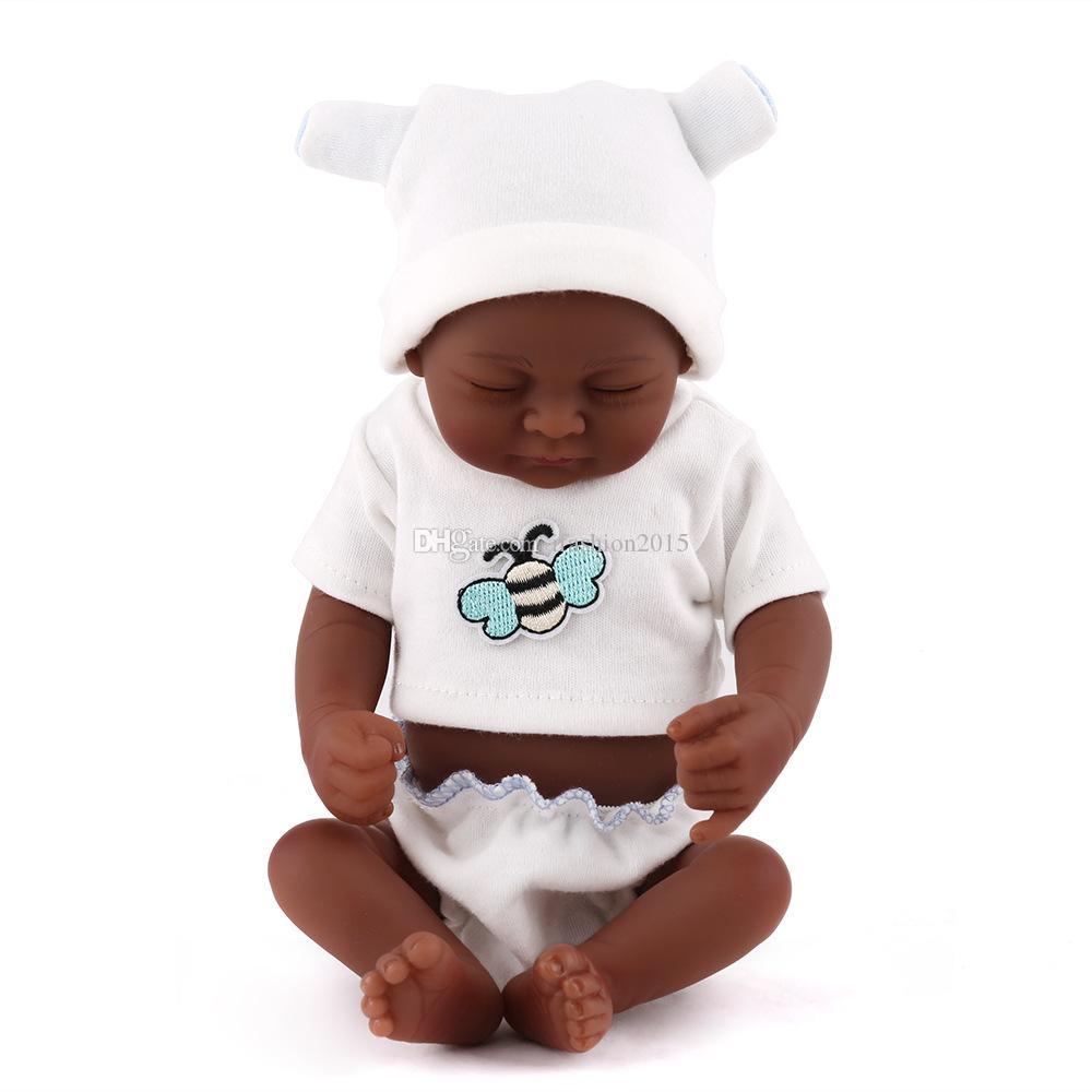 Black Skin Eye Closed Realistic Reborn Baby Doll Soft Full Silicone Vinyl Newborn Baby Boy Kids Child Birthday Gift Toys