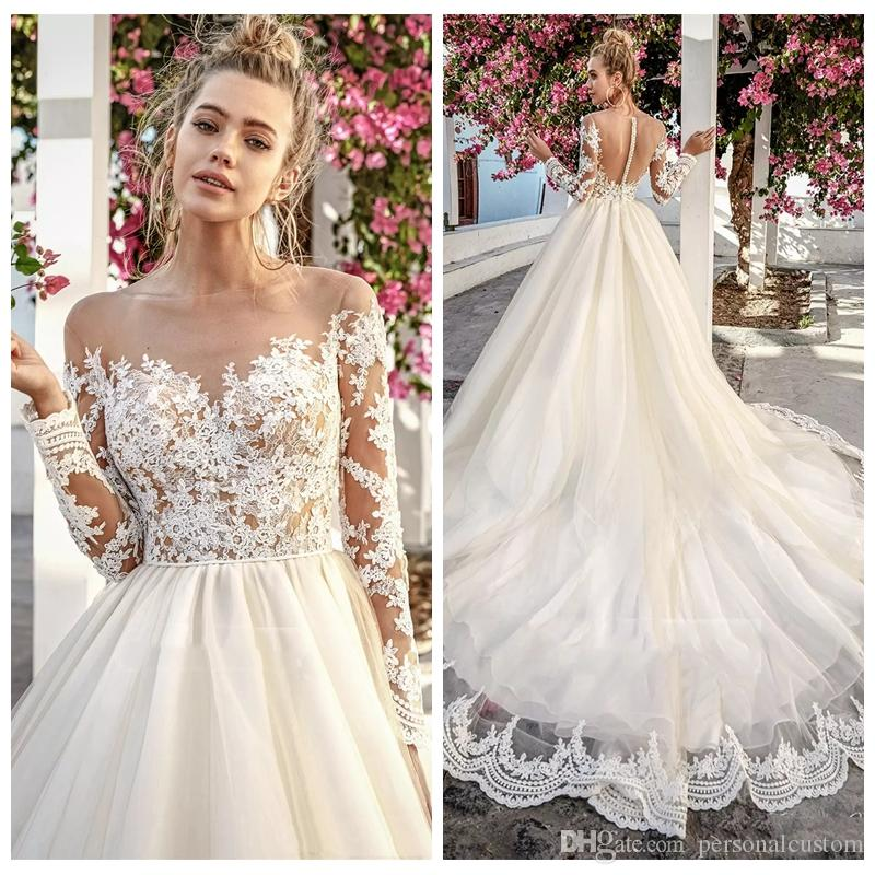 Wedding Gown Tops: Discount 2017 Nude Sheer Top Lace Long Sleeves Custom