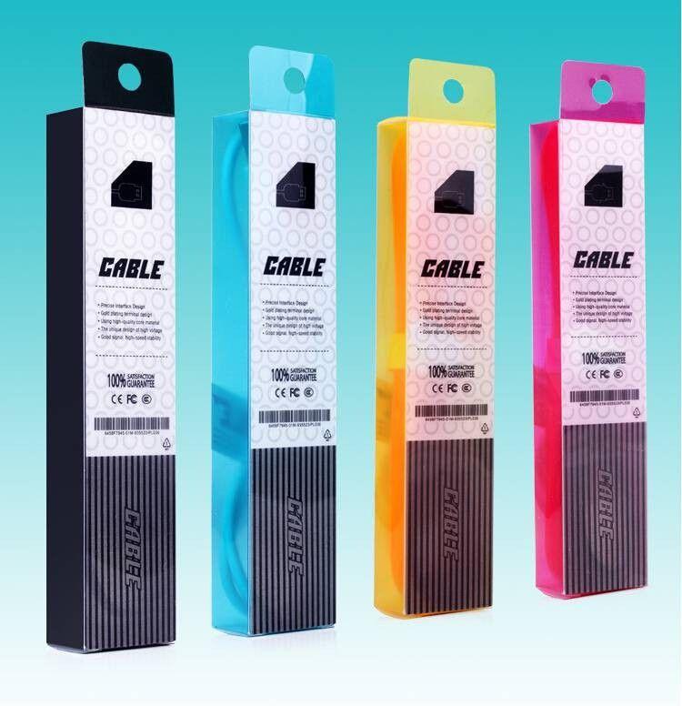 Comercio al por mayor 100 unids / lote Blister Claro PVC Bolsa de Empaquetado Al Por Menor / Caja de Paquetes Para 1 metro cable de Carga Cable USB, es