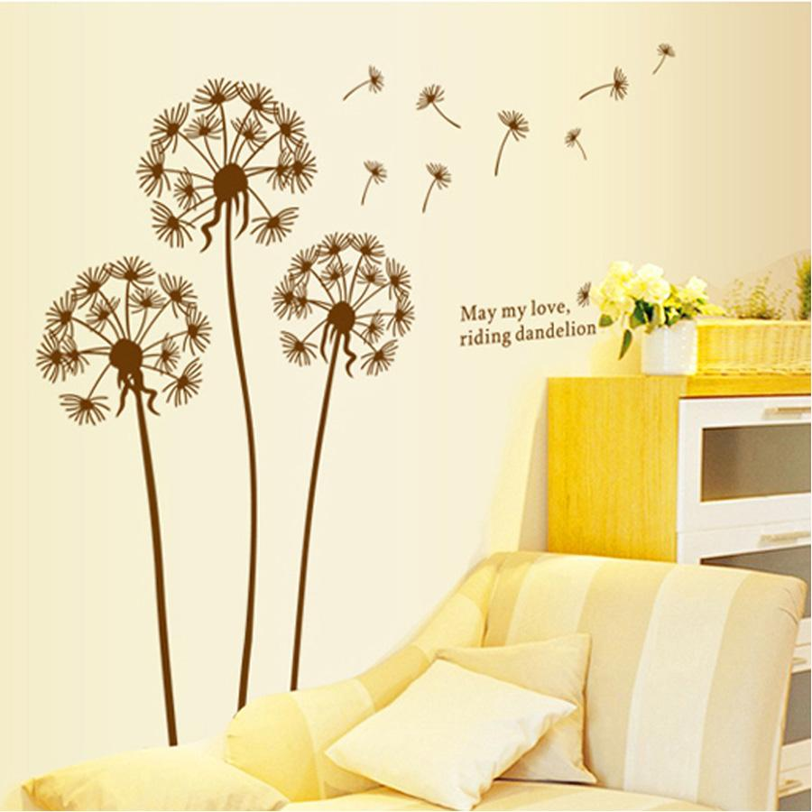 Flying Dandelion Brown Wall Decal Removable Stickers Decor Diy Art ...