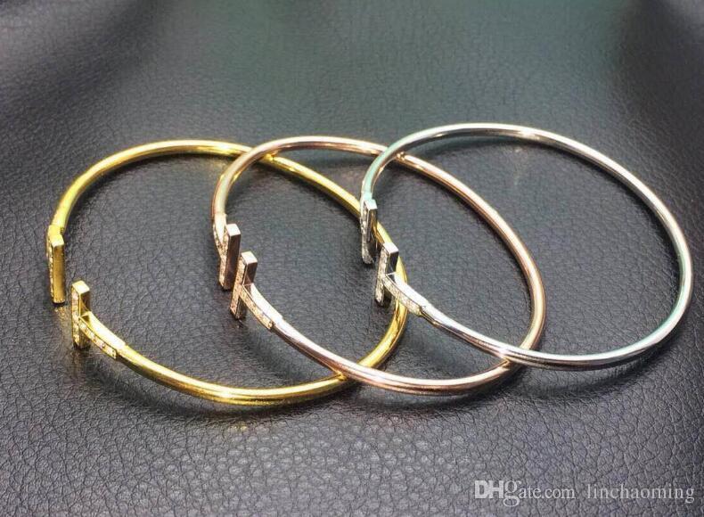 Altın Kaplama Ayarlanabilir CZ Kristal Pulsera Çift T Şekilli Metal Manşet BraceletsBangle Açık Çapraz Charm Bilezik Kadınlar Veya Erkekler Için