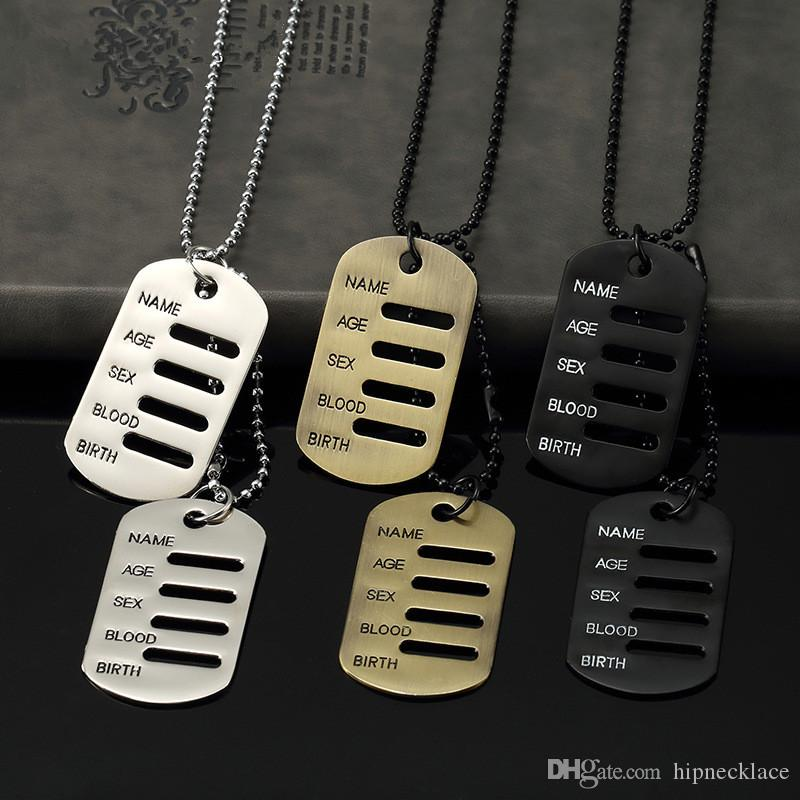 men s blank military wholesale steel double chain necklace pieces tag name dog tags beads stainless army product