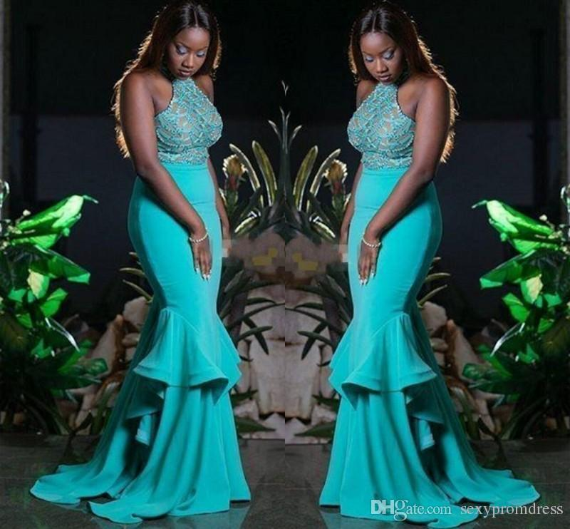 Turquoise Green Beading Halter Prom Dresses Sexy Backless Mermaid Evening Gowns Plus Size Black Girls Formal Party Gowns