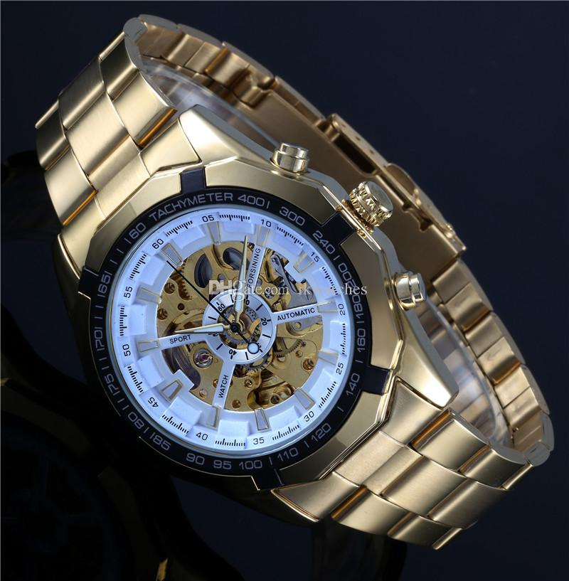 Free shipping hot sale WINNER Skeleton watches for men mechanical men's sport watch gold WN06