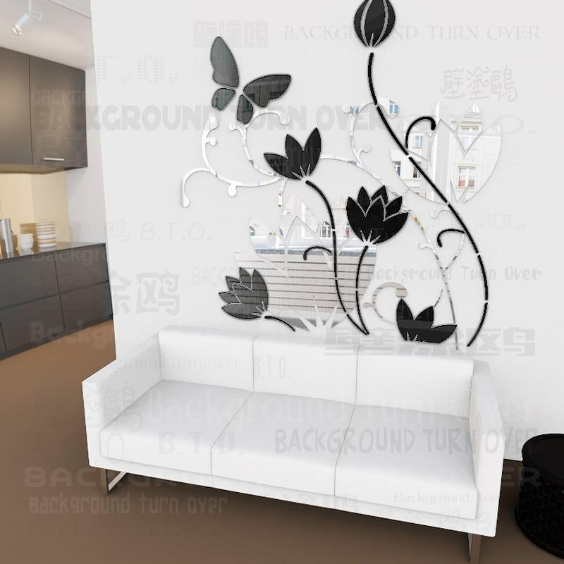 new design diy bicolor 3d butterfly water lily lotus flower wall