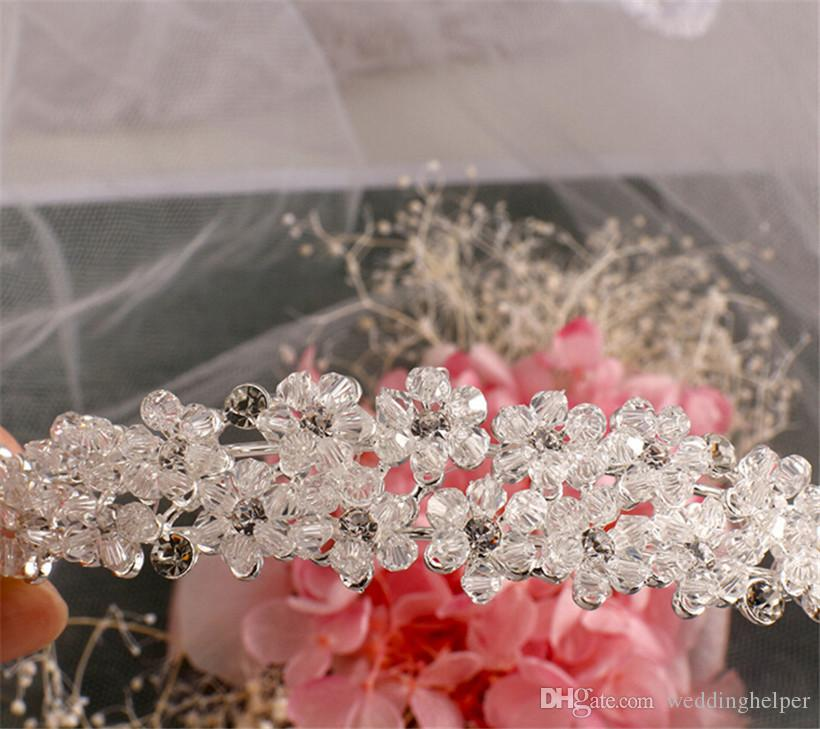 Wholesale Wedding Headpiece Crystal Headband Bridal Rhinestone Hair Accessories Crown Tiara Princess Headdress Jewelry Hairband Silver Band