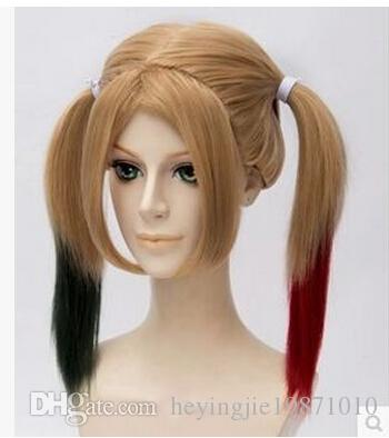 Xiu Zhi Mei Batman Comics Movie Suicide Squad Harley Quinn Cosplay Blonde Wig Hair Curly Gradient Wigs Heat Resistant For Halloween