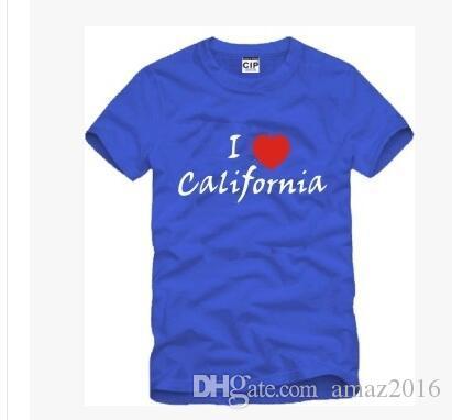 2016 hiphop t shirts Les hommes aiment la Californie tee manches courtes tops 100% coton 4 couleurs