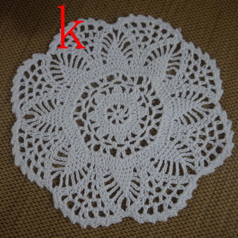 Freier Verschiffengroßverkauf 100% Baumwollspitze handgemachtes Häkeldeckchen-Schalenmatte natürliche Farbe rund, quadratisches Deckchen / 18-20cm ab3h57