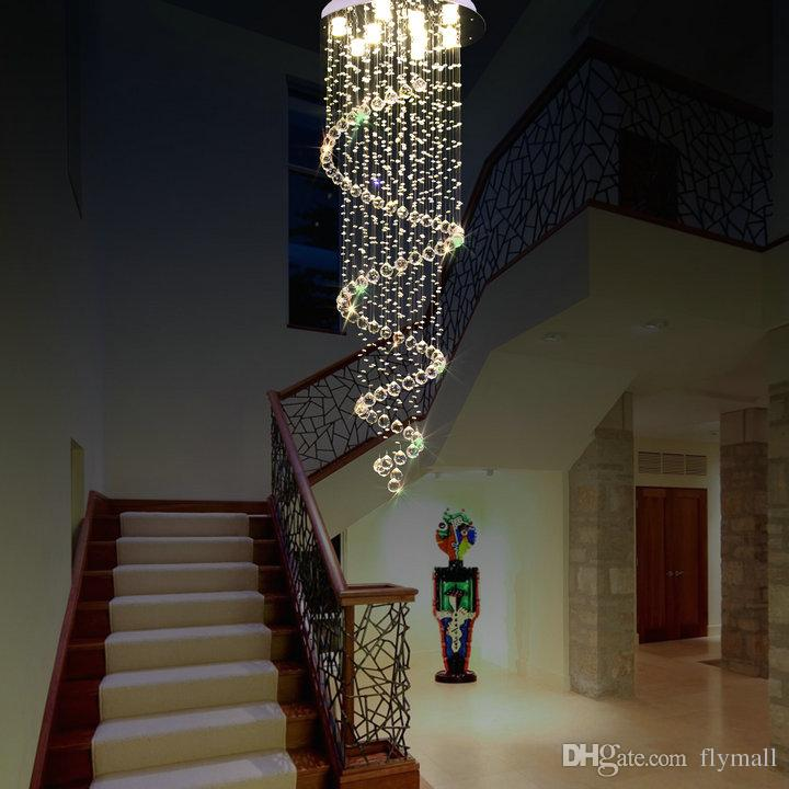 LED Crystal Chandelier Lighting Ceiling Pendant Lamp Fixtures Villas Hotel Hallway Staircase Hanging Pendant Light AC110-240V CE FCC ROHS
