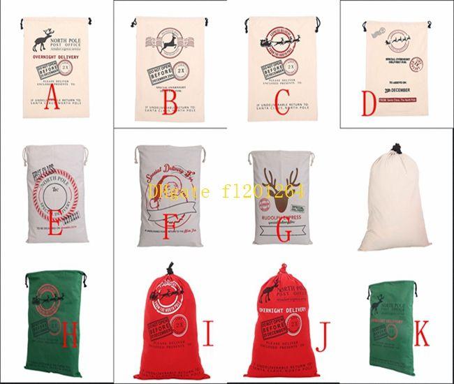 / Livraison Gratuite 12 styles Père Noël en toile sac en toile de Noël cadeau sac en sac cadeau 50x70cm Taille